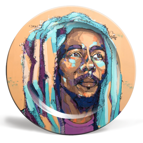 Thoughtful Bob - ceramic dinner plate by Laura Selevos