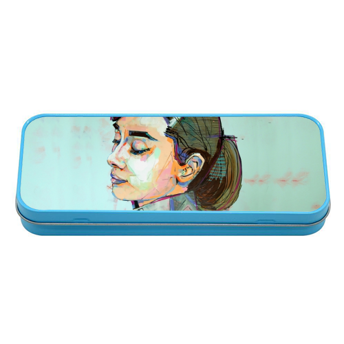 Pink Audrey - tin pencil case by Laura Selevos