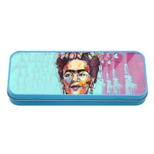 Sassy Frida - tin pencil case by Laura Selevos