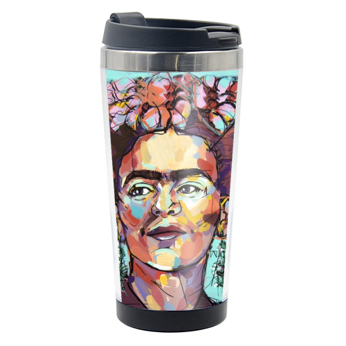Sassy Frida - travel water bottle by Laura Selevos