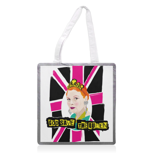 Vivienne Westwood God Save The Queen Pink - printed tote bag by SABI KOZ