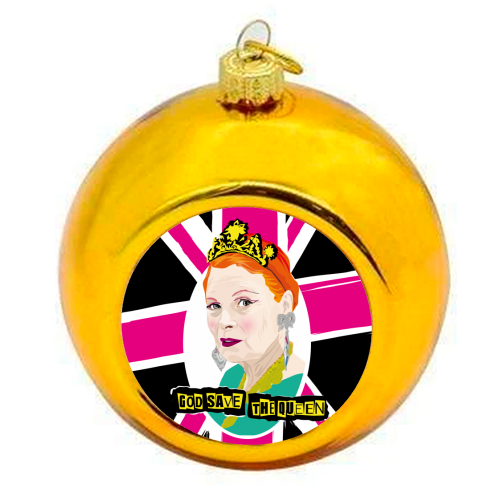 Vivienne Westwood God Save The Queen Pink - colourful christmas bauble by SABI KOZ
