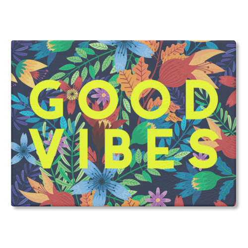 Good Vibes Flowers - glass chopping board by The 13 Prints