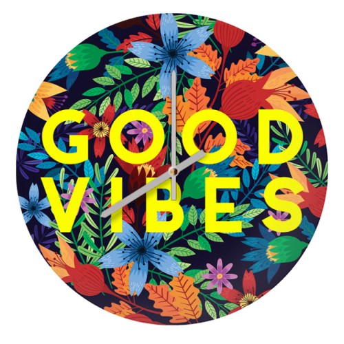 Good Vibes Flowers - creative clock by The 13 Prints