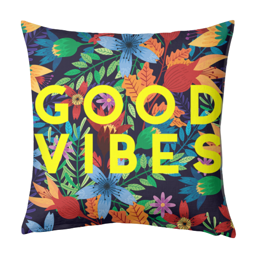 Good Vibes Flowers - designed cushion by The 13 Prints