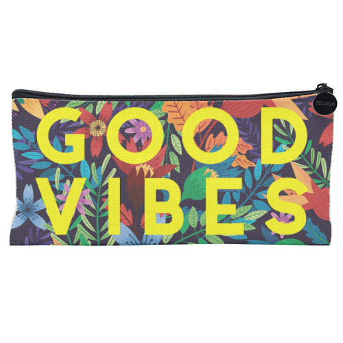 Good Vibes Flowers - unique pencil case by The 13 Prints