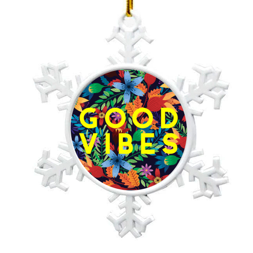 Good Vibes Flowers - snowflake decoration by The 13 Prints
