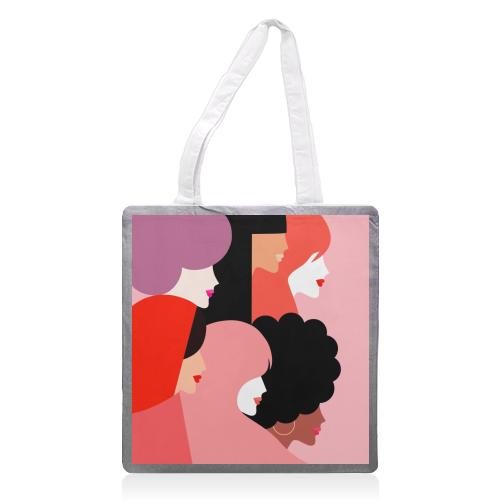 Girl Power 'We Persist' Coral - printed tote bag by Dominique Vari