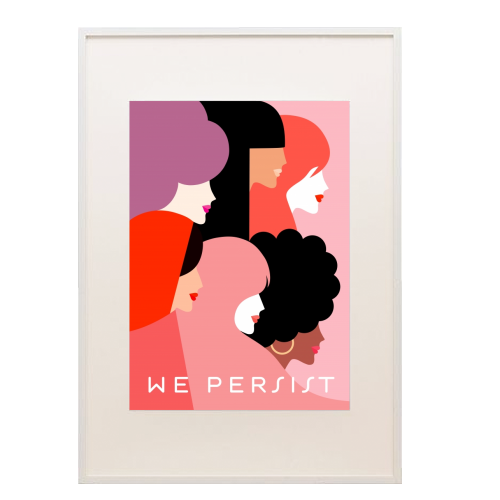 Girl Power 'We Persist' Coral - printed framed picture by Dominique Vari