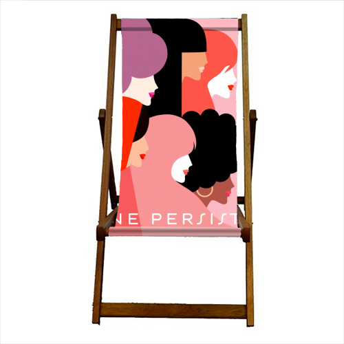 Girl Power 'We Persist' Coral - canvas deck chair by Dominique Vari