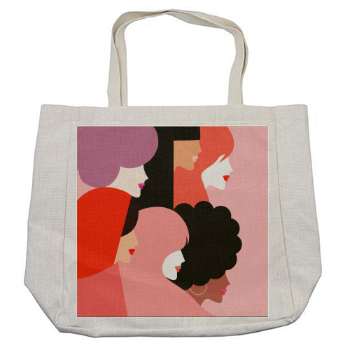 Girl Power 'We Persist' Coral - cool beach bag by Dominique Vari