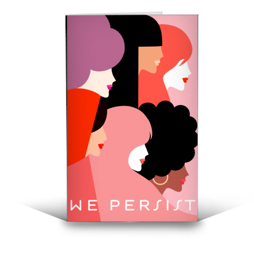 Girl Power 'We Persist' Coral - funny greeting card by Dominique Vari