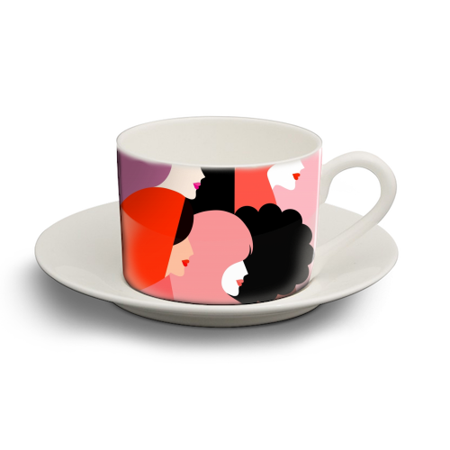 Girl Power 'We Persist' Coral - personalised cup and saucer by Dominique Vari