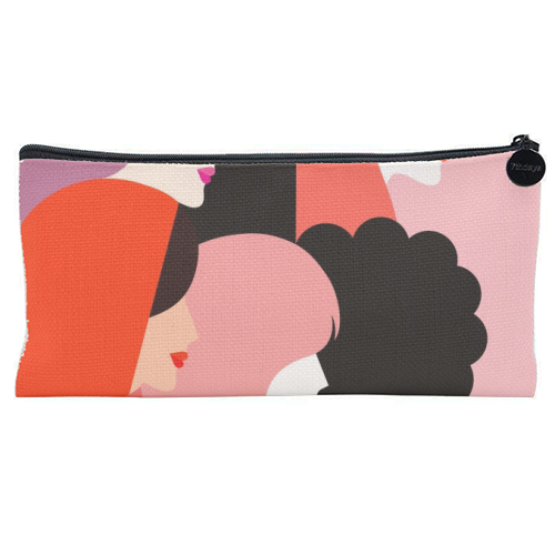 Girl Power 'We Persist' Coral - unique pencil case by Dominique Vari