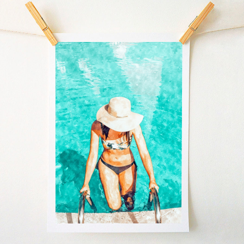Pool Fashion - original print by Uma Prabhakar Gokhale