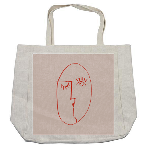Winking Woman Minimal Line Portrait - cool beach bag by Adam Regester