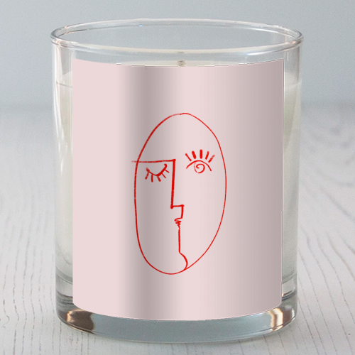 Winking Woman Minimal Line Portrait - Candle by Adam Regester