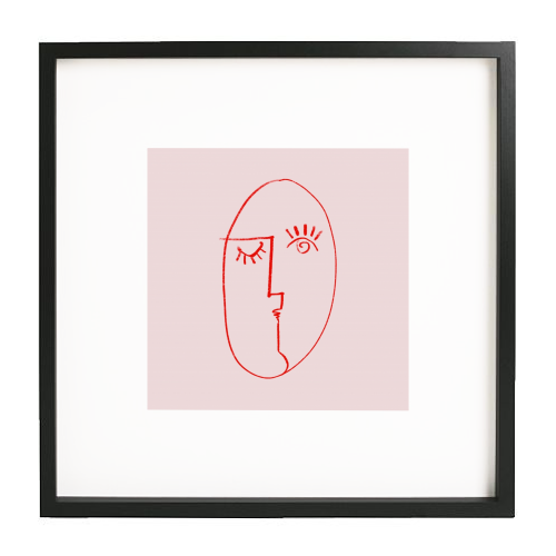 Winking Woman Minimal Line Portrait - printed framed picture by Adam Regester