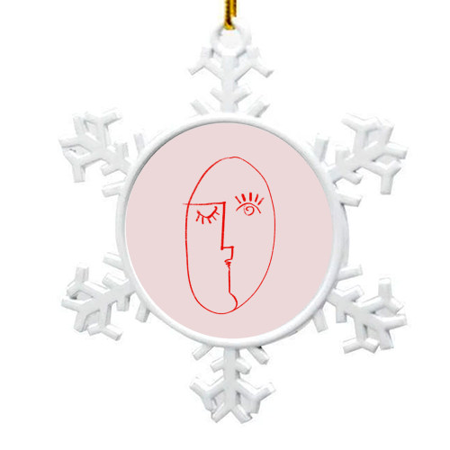 Winking Woman Minimal Line Portrait - snowflake decoration by Adam Regester