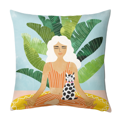 Meditation With Thy Cat - designed cushion by Uma Prabhakar Gokhale