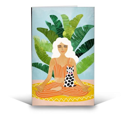 Meditation With Thy Cat - funny greeting card by Uma Prabhakar Gokhale