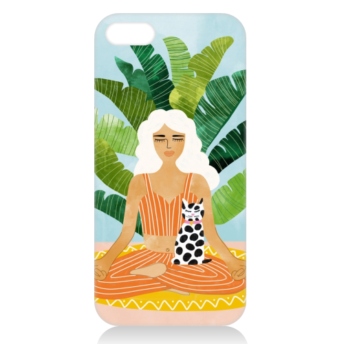 Meditation With Thy Cat - unique phone case by Uma Prabhakar Gokhale