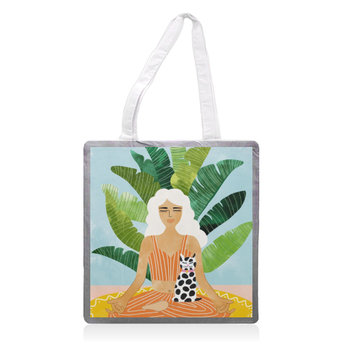 Meditation With Thy Cat - printed tote bag by Uma Prabhakar Gokhale