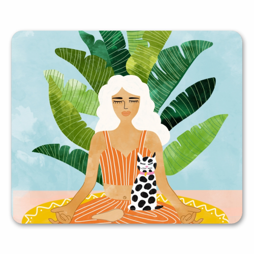 Meditation With Thy Cat - personalised mouse mat by Uma Prabhakar Gokhale