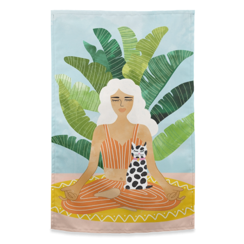 Meditation With Thy Cat - funny tea towel by Uma Prabhakar Gokhale