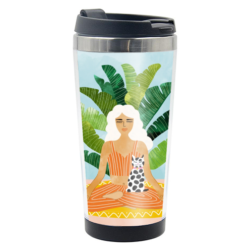 Meditation With Thy Cat - travel water bottle by Uma Prabhakar Gokhale