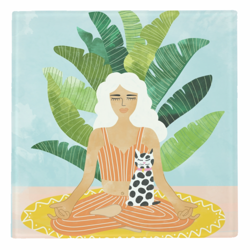 Meditation With Thy Cat - personalised drink coaster by Uma Prabhakar Gokhale