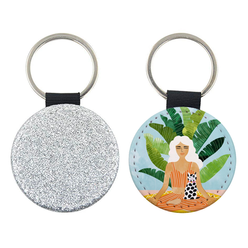 Meditation With Thy Cat - personalised picture keyring by Uma Prabhakar Gokhale
