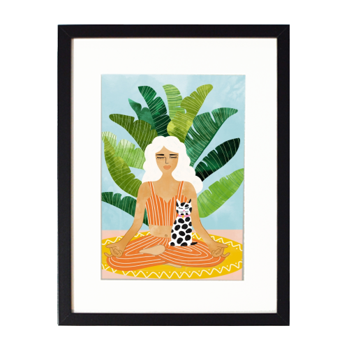 Meditation With Thy Cat - printed framed picture by Uma Prabhakar Gokhale