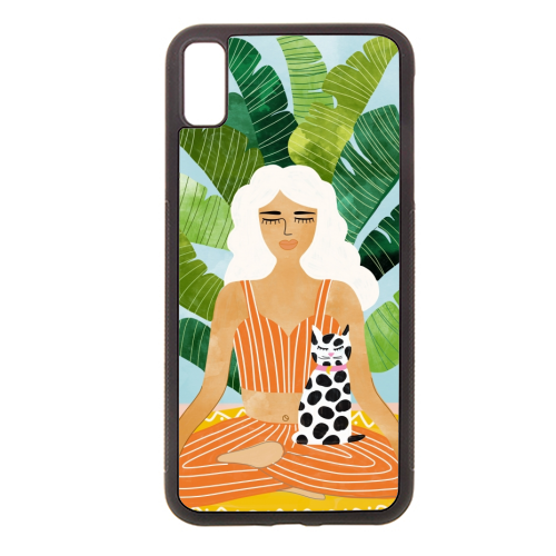 Meditation With Thy Cat - Rubber phone case by Uma Prabhakar Gokhale