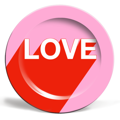 The Word Is Love - ceramic dinner plate by Adam Regester