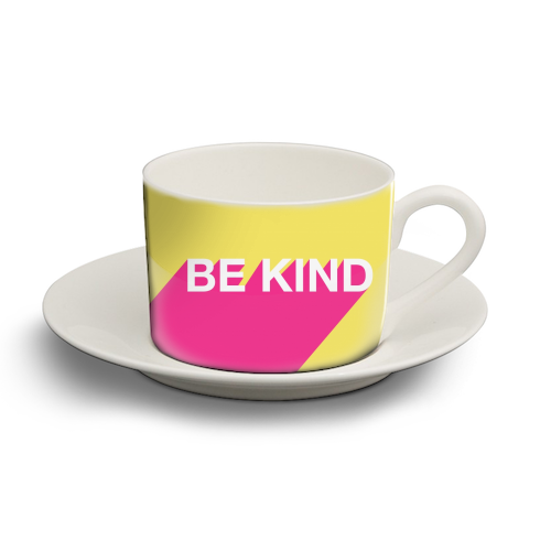 BE KIND TYPOGRAPHY DESIGN - personalised cup and saucer by Adam Regester