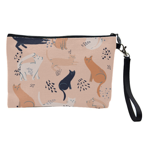Cats in pink - pretty makeup bag by Michelle Walker