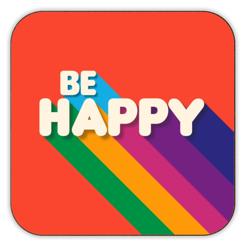 BE HAPPY - personalised drink coaster by Ania Wieclaw