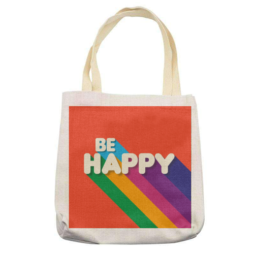 BE HAPPY - printed tote bag by Ania Wieclaw