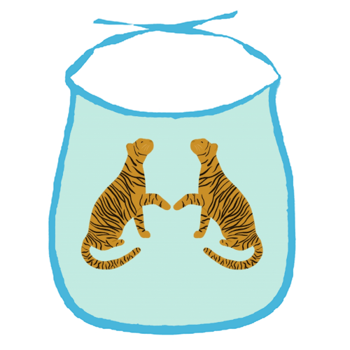 Mirrored Tigers - funny baby bib by Ella Seymour