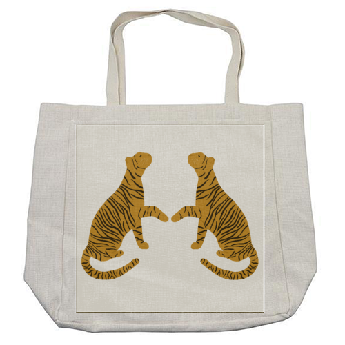 Mirrored Tigers - cool beach bag by Ella Seymour