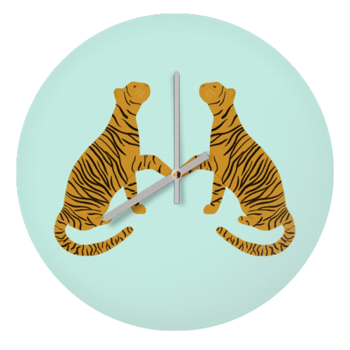 Mirrored Tigers - creative clock by Ella Seymour