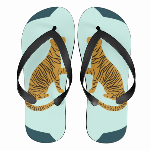 Mirrored Tigers - funny flip flops by Ella Seymour