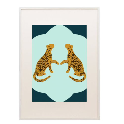 Mirrored Tigers - printed framed picture by Ella Seymour