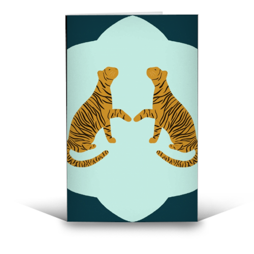 Mirrored Tigers - funny greeting card by Ella Seymour