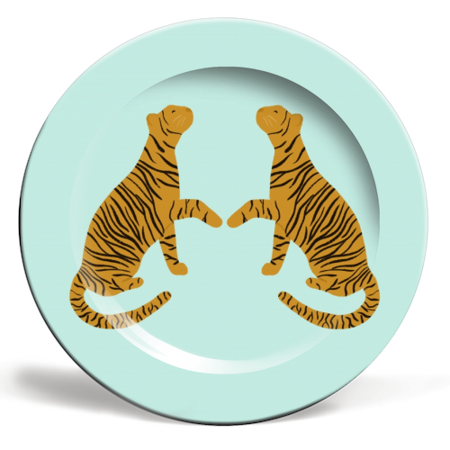 Mirrored Tigers - personalised dinner plate by Ella Seymour