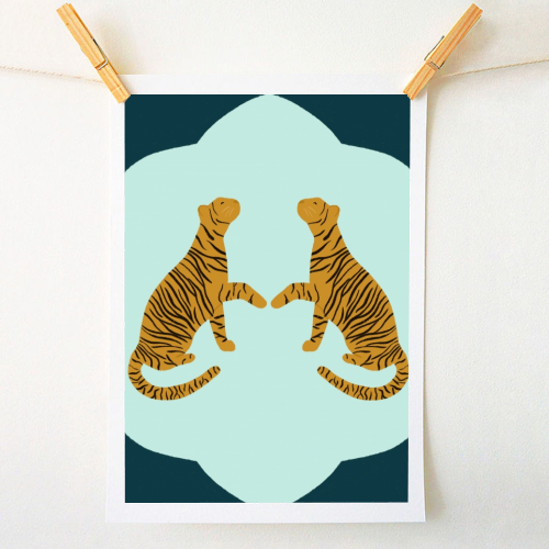Mirrored Tigers - original print by Ella Seymour