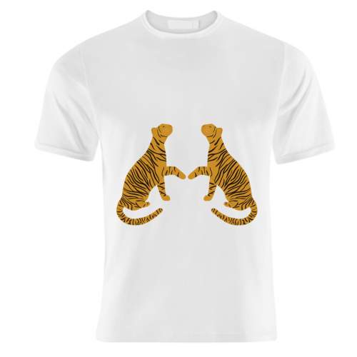Mirrored Tigers - unique t shirt by Ella Seymour