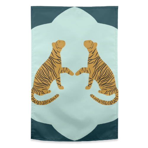 Mirrored Tigers - funny tea towel by Ella Seymour