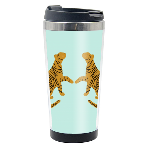 Mirrored Tigers - travel water bottle by Ella Seymour